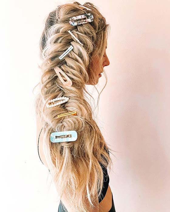 Big Accessorized Side Braid for Long Hair