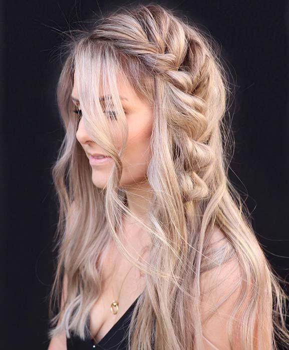 Messy Side Braid for Long Hair