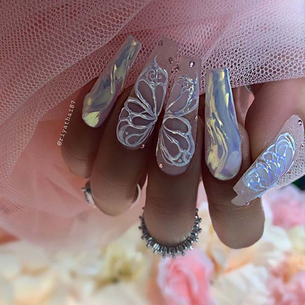 Beautiful Butterfly Coffin Nails