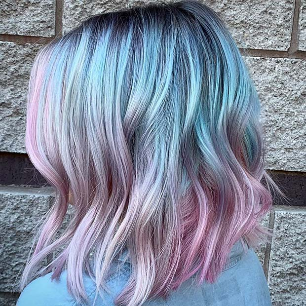 Light Blue and Light Pink Bob