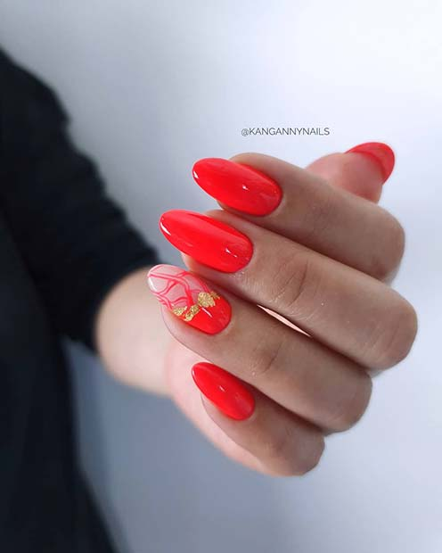 Bold Red Almond Acrylic Nails