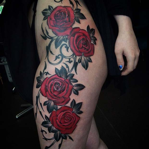 Bold Red Roses Thigh and Leg Tattoo