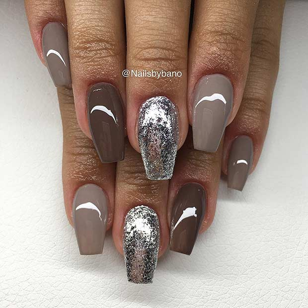 Brown and Silver Nails
