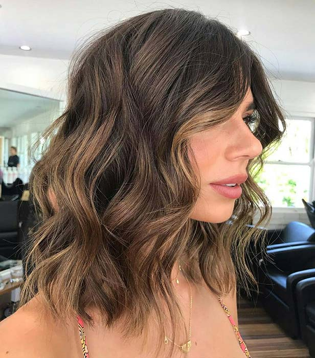 Chic Chestnut Long Bob Cut