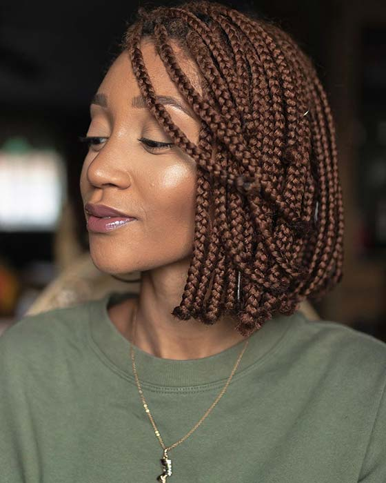 Brown Box Braids Bob