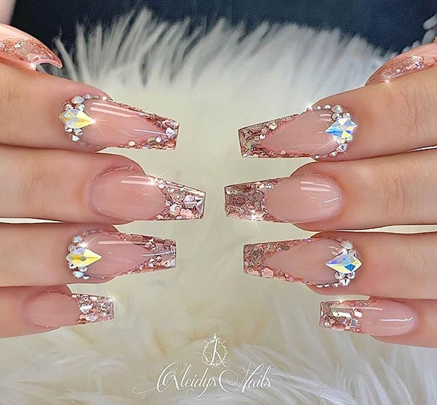 Coffin Nails with Glitter Tips