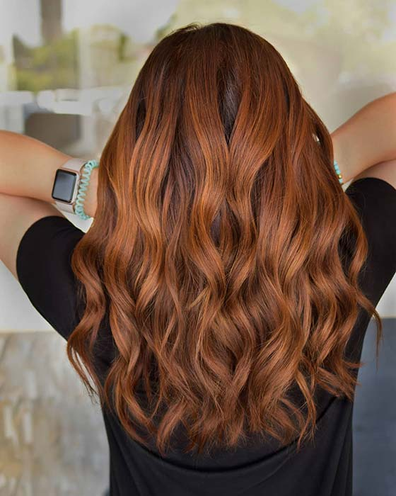 Coppery Chestnut Hair Color Idea