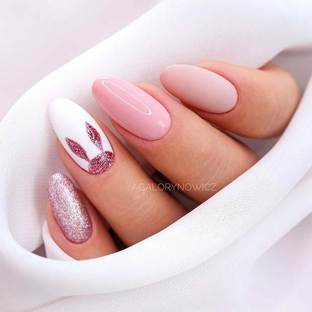 Cute Pink Bunny Nail Design