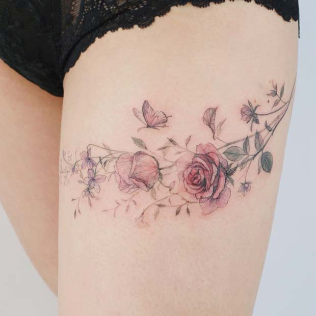 Pretty Rose Thigh Tattoo