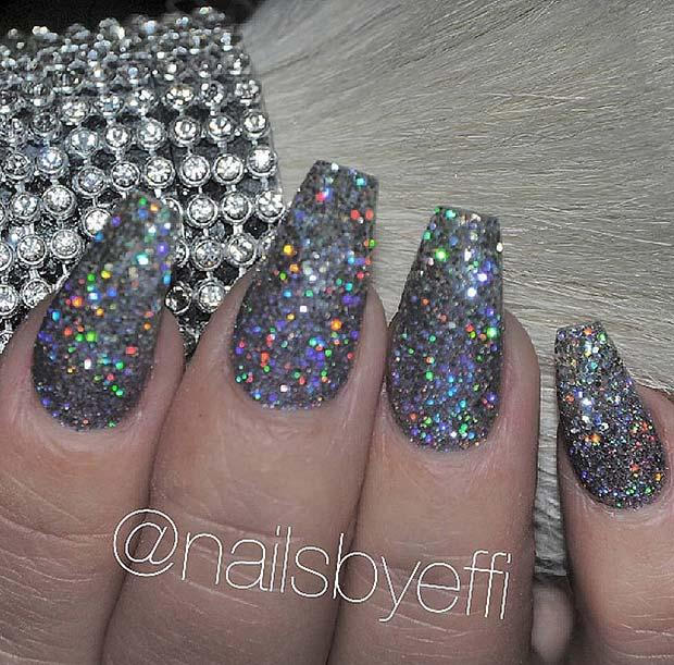 Dark Silver Glitter Nails