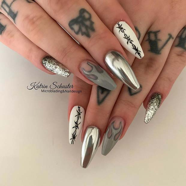 Edgy Silver Nails with Flames