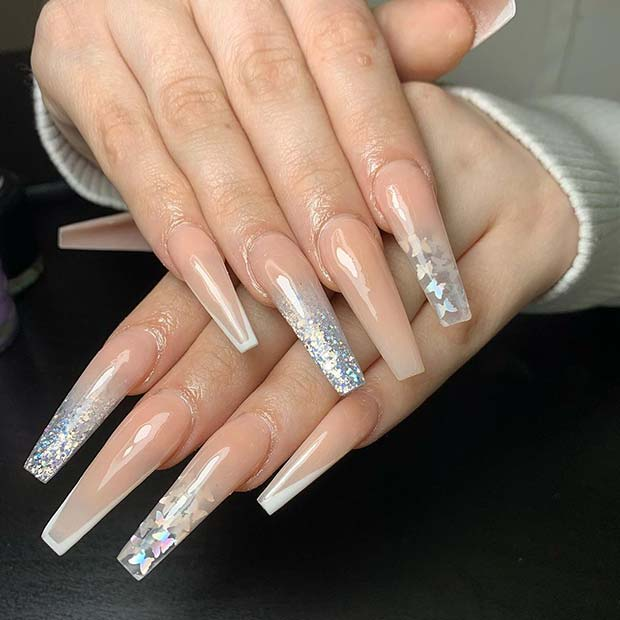 Elegant Nude Mani with Silver Butterflies