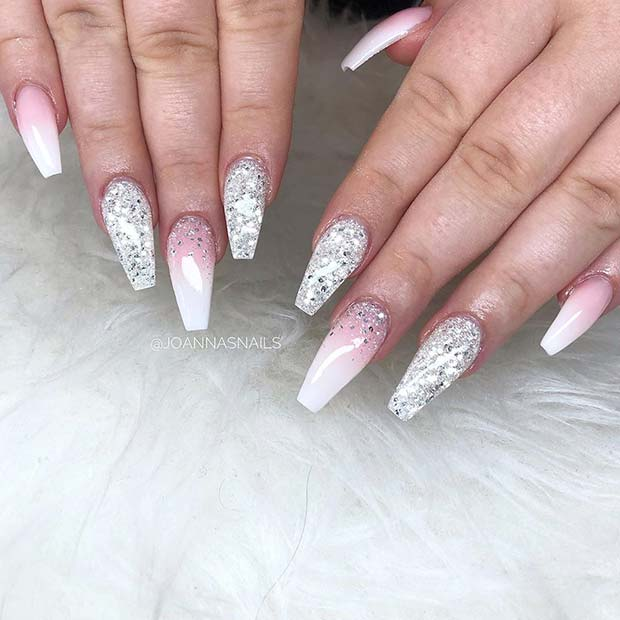 French Ombre Nails with Silver Sparkle