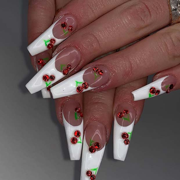 French Tip Nails with Cherries