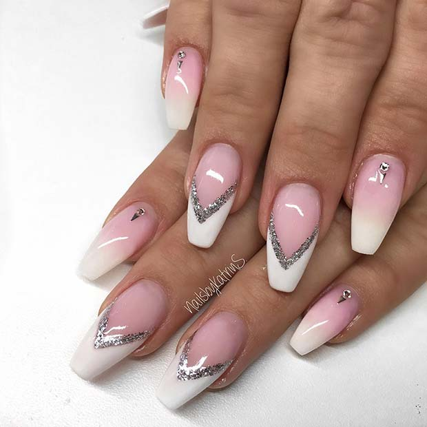 French Tip Nails with Silver Glitter