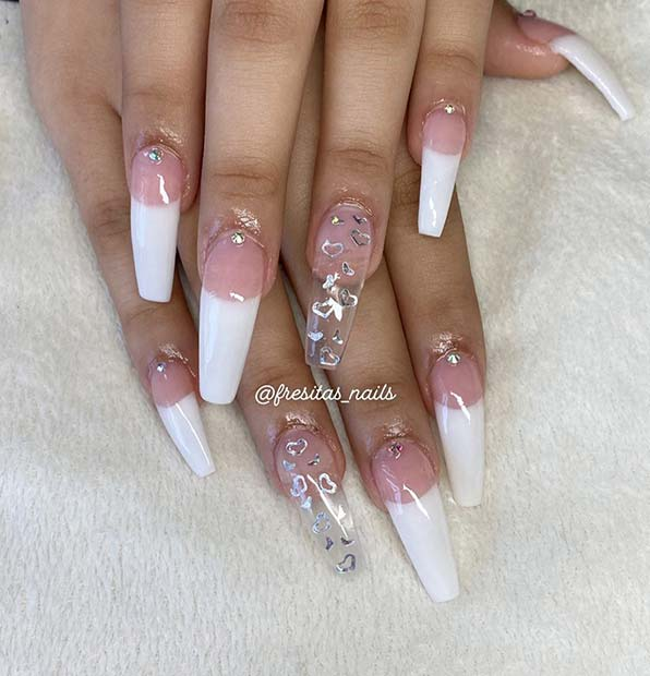 French Tip Nails with Hearts