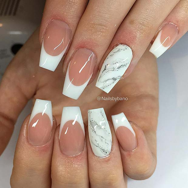 French Tips with Sparkly Marble Art