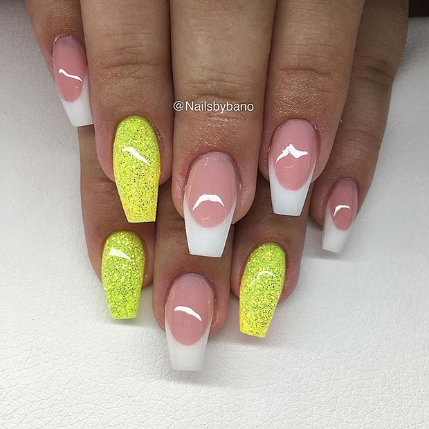 French Tip Nails with Yellow Glitter