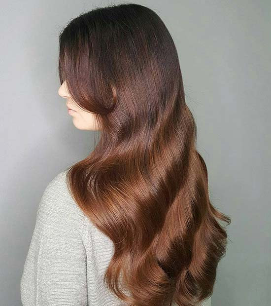 Glam Brown Color Melt Hair Idea