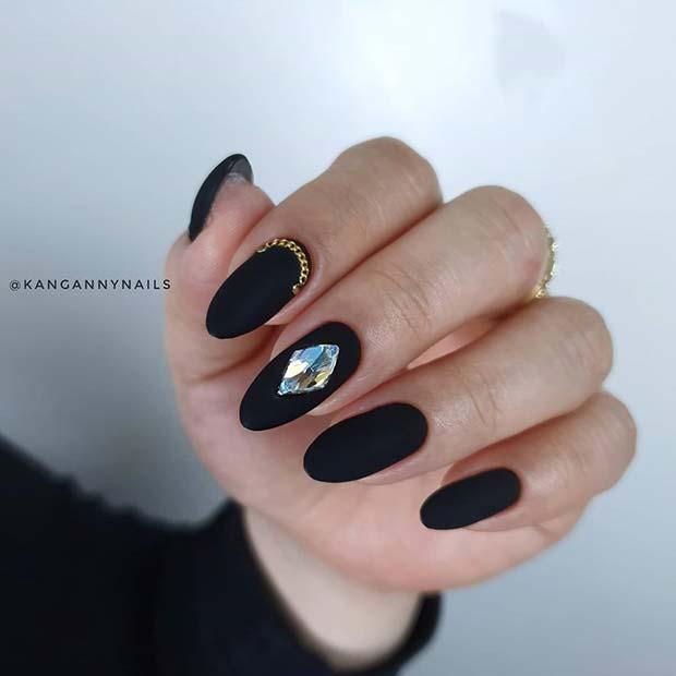 Glam Matte Black Nails