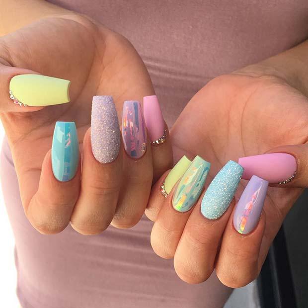 Glam Pastel Summer Nails