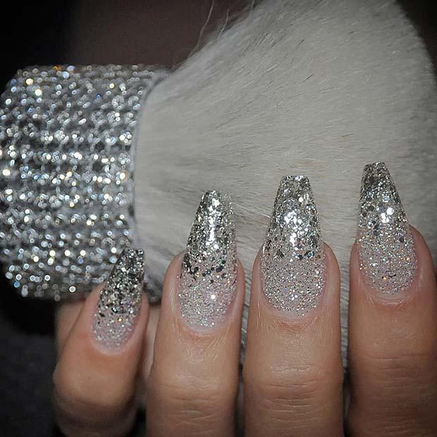 Glam and Glittery Silver Mani