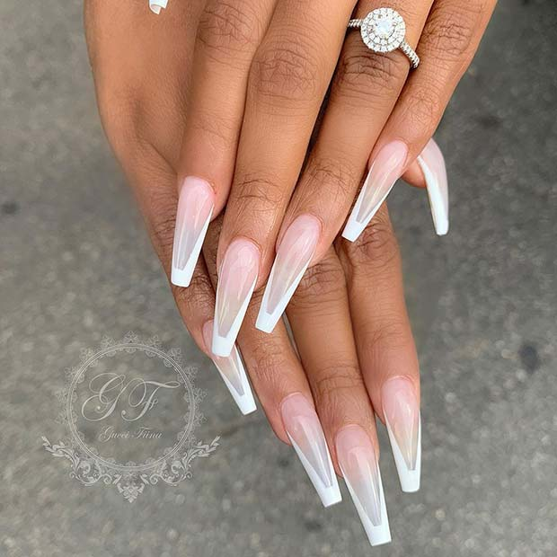 Clear Nails with White Tips