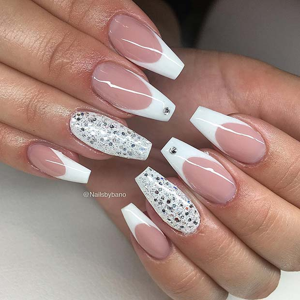 Glitzy Coffin Nails with French Tips