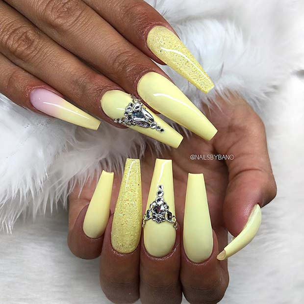 Yellow Coffin Nail Design