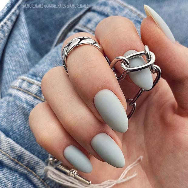 Matte Grey Almond Acrylic Nails