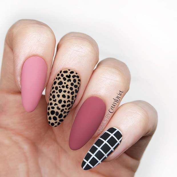 Leopard and Check Nail Art