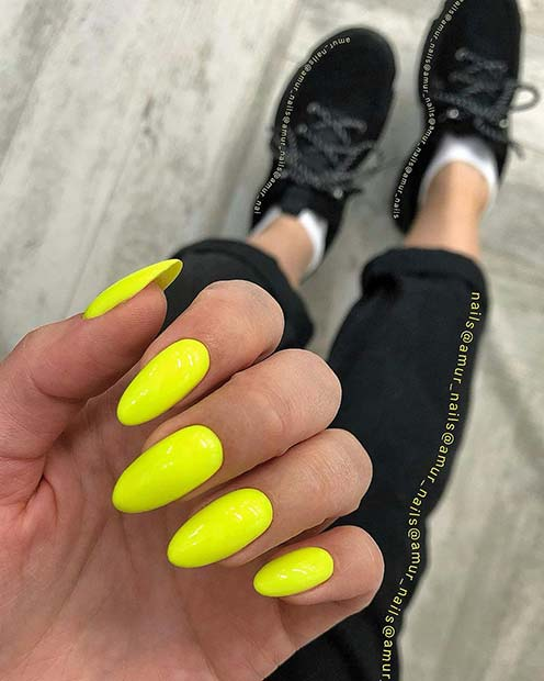 Neon Yellow Almond Acrylic Nails