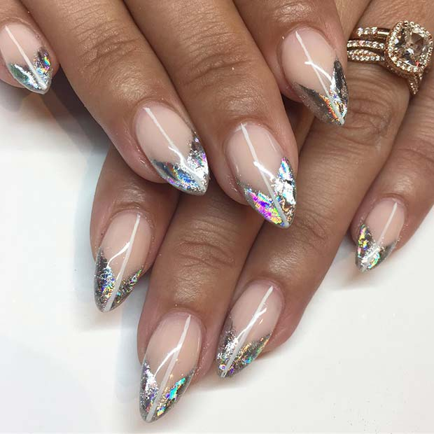Nude Nails with Silver Foil Tips
