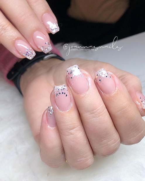 Nude Nails with Sparkly Tips