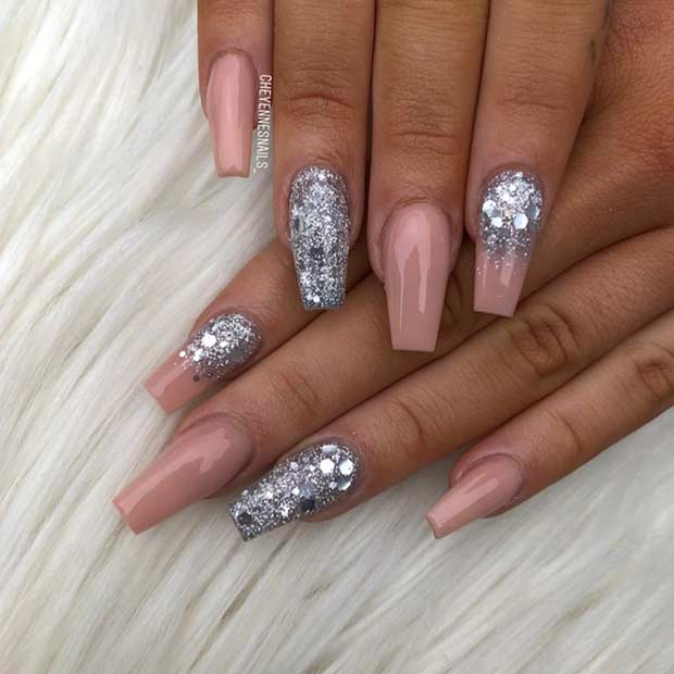 Nude and Silver Glitter Coffin Nails