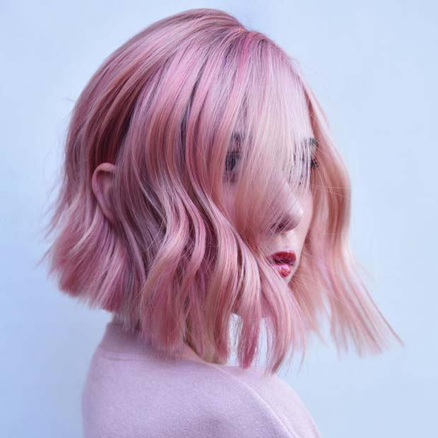 Pale Pink Short Bob Hairstyle