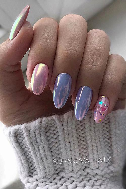Pastel Chrome Nails