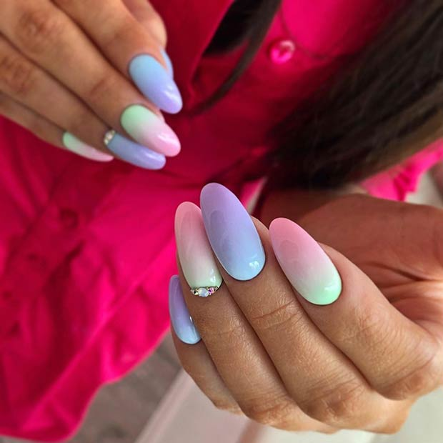 Pastel Gradient Almond Nails