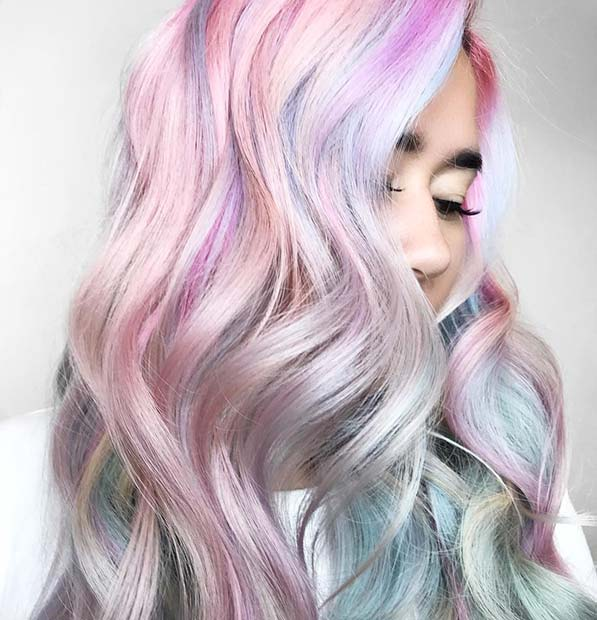 Pastel Pink, Purple and Blue