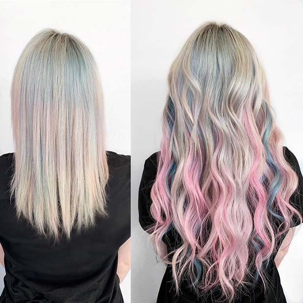 Pastel Pink and Blue with Blonde