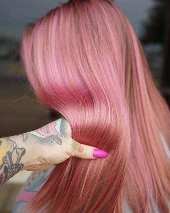 Pastel Pink and Peach Hair Color Idea
