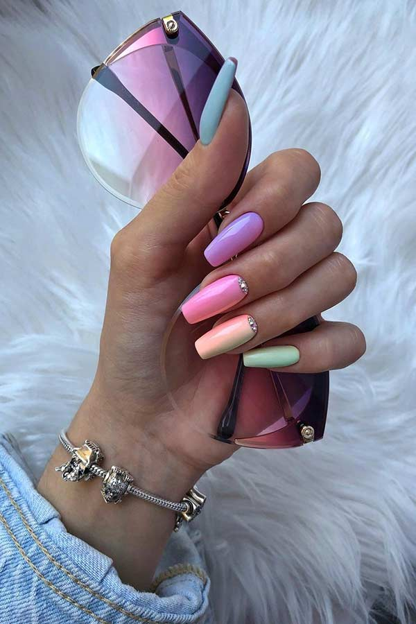 Pastel Rainbow Nails for Spring
