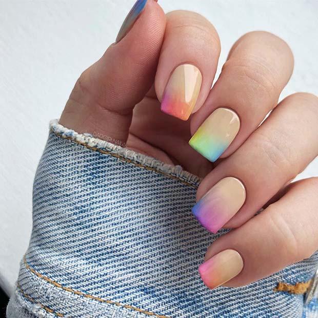 Pastel Rainbow Short Nails