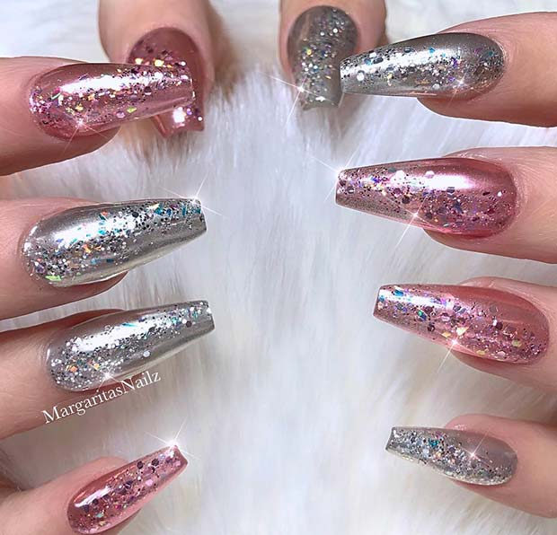 Sparkly Pink and Silver Nails