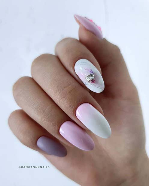 Pretty Almond Acrylic Nails
