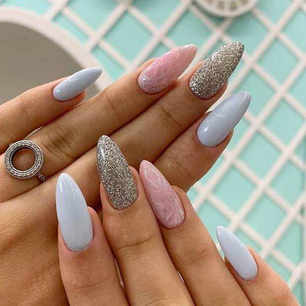 Pretty Pastel Blue Nail Design