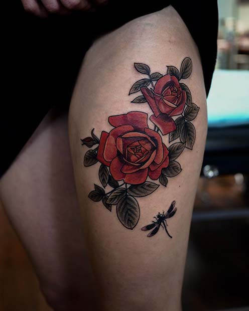 Red Roses with a Dragonfly
