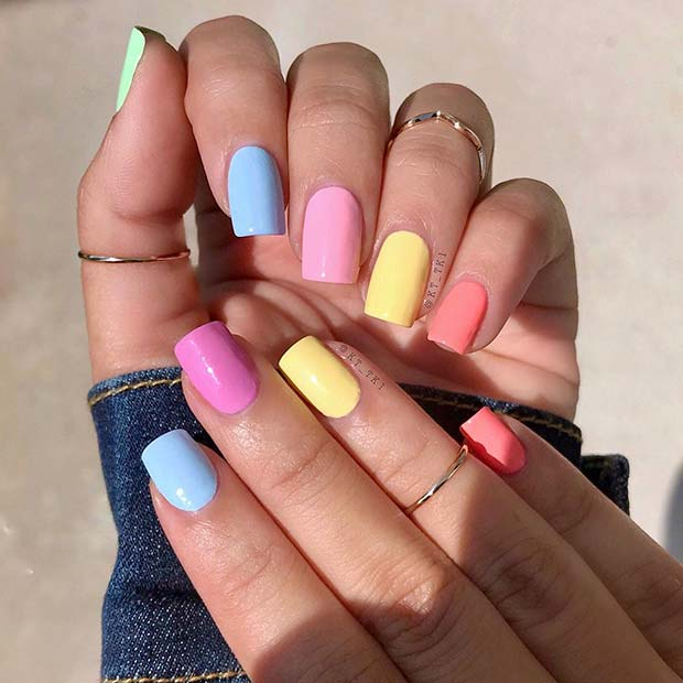 Short and Colorful Nails