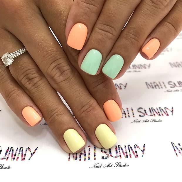 Short and Subtle Pastel Nails