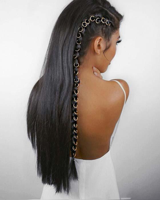 Saç Halkalı Uzun Yan Örgü
